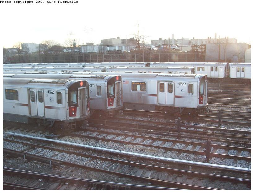 (88k, 820x624)<br><b>Country:</b> United States<br><b>City:</b> New York<br><b>System:</b> New York City Transit<br><b>Location:</b> Westchester Yard<br><b>Car:</b> R-142A (Option Order, Kawasaki, 2002-2003)  7615/7641/7295 <br><b>Photo by:</b> Mike Fioriello<br><b>Date:</b> 12/20/2003<br><b>Viewed (this week/total):</b> 1 / 5376