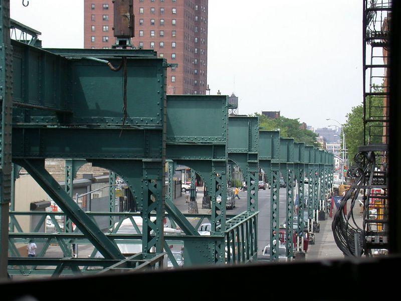 (82k, 800x600)<br><b>Country:</b> United States<br><b>City:</b> New York<br><b>System:</b> New York City Transit<br><b>Line:</b> BMT Nassau Street/Jamaica Line<br><b>Location:</b> Myrtle Avenue <br><b>Photo by:</b> Ted Siuta<br><b>Date:</b> 2003<br><b>Notes:</b> Remains of Myrtle El--Looking south along Myrtle Avenue<br><b>Viewed (this week/total):</b> 4 / 6810