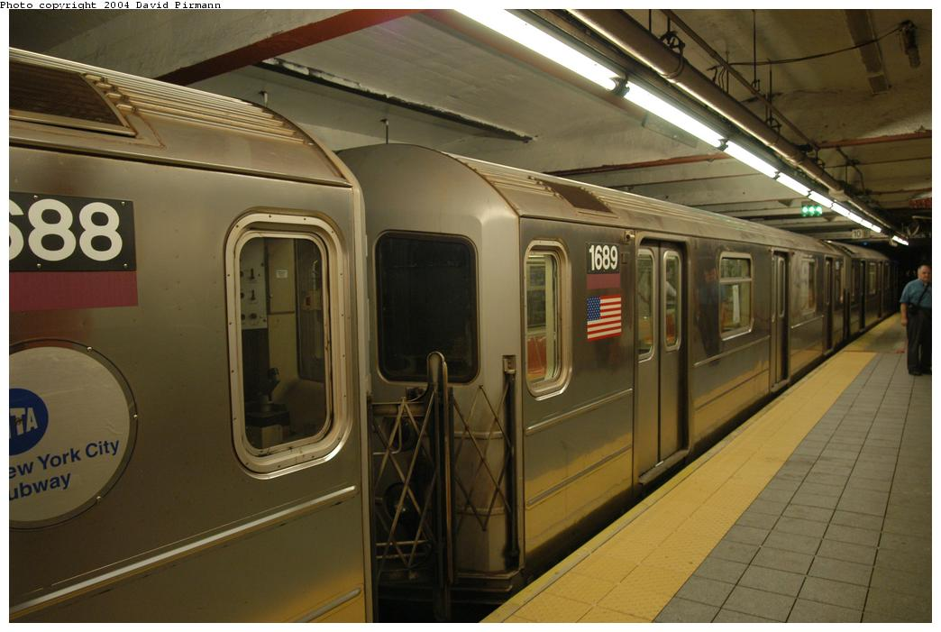 (148k, 1044x701)<br><b>Country:</b> United States<br><b>City:</b> New York<br><b>System:</b> New York City Transit<br><b>Line:</b> IRT Flushing Line<br><b>Location:</b> Times Square <br><b>Route:</b> 7<br><b>Car:</b> R-62A (Bombardier, 1984-1987)  1689 <br><b>Photo by:</b> David Pirmann<br><b>Date:</b> 6/19/2004<br><b>Viewed (this week/total):</b> 0 / 3354
