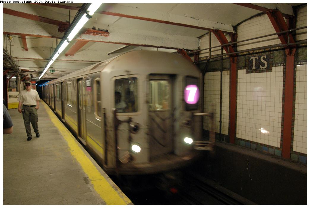 (140k, 1044x701)<br><b>Country:</b> United States<br><b>City:</b> New York<br><b>System:</b> New York City Transit<br><b>Line:</b> IRT Flushing Line<br><b>Location:</b> Times Square <br><b>Route:</b> 7<br><b>Car:</b> R-62A (Bombardier, 1984-1987)  1967 <br><b>Photo by:</b> David Pirmann<br><b>Date:</b> 6/19/2004<br><b>Viewed (this week/total):</b> 5 / 4068