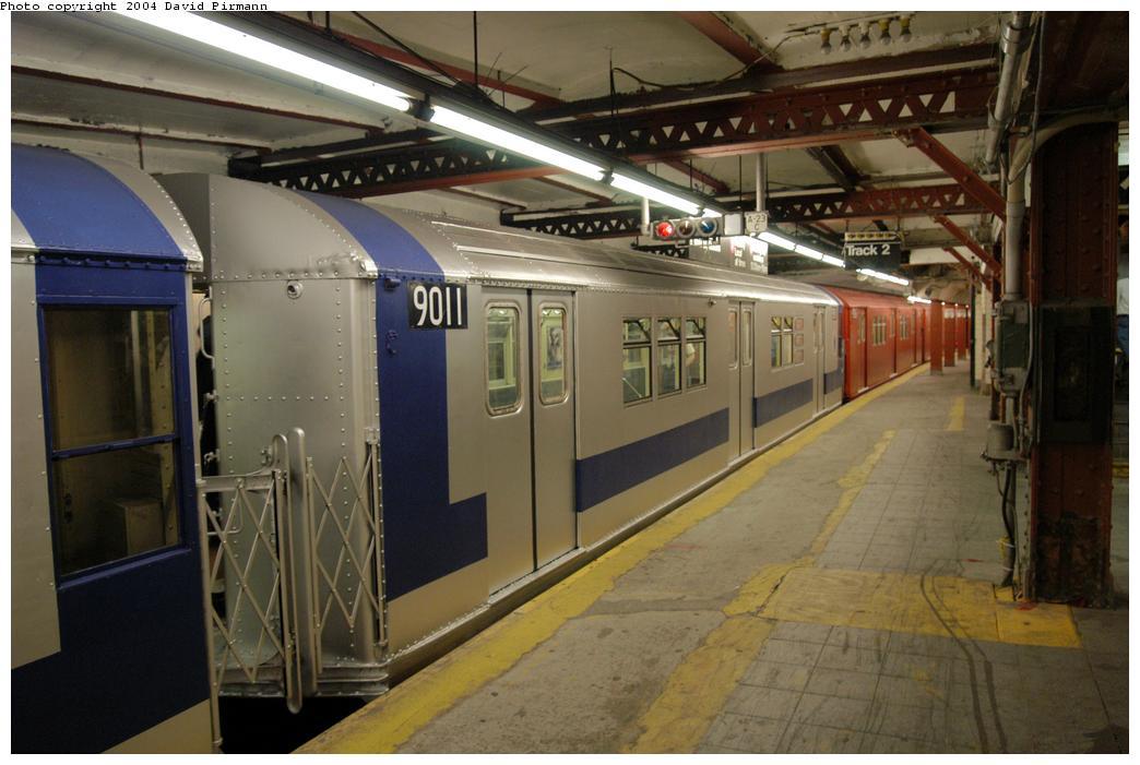 (156k, 1044x701)<br><b>Country:</b> United States<br><b>City:</b> New York<br><b>System:</b> New York City Transit<br><b>Line:</b> IRT Flushing Line<br><b>Location:</b> Times Square <br><b>Route:</b> Fan Trip<br><b>Car:</b> R-33 Main Line (St. Louis, 1962-63) 9011 <br><b>Photo by:</b> David Pirmann<br><b>Date:</b> 6/19/2004<br><b>Viewed (this week/total):</b> 3 / 6260