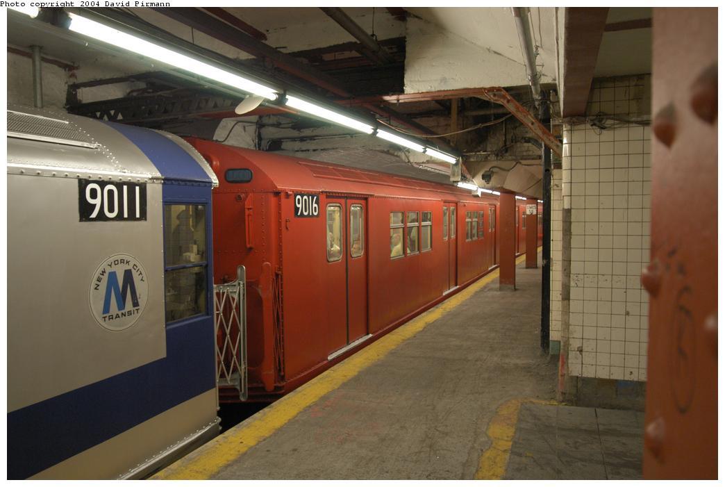 (136k, 1044x701)<br><b>Country:</b> United States<br><b>City:</b> New York<br><b>System:</b> New York City Transit<br><b>Line:</b> IRT Flushing Line<br><b>Location:</b> Times Square <br><b>Route:</b> Fan Trip<br><b>Car:</b> R-33 Main Line (St. Louis, 1962-63) 9016 <br><b>Photo by:</b> David Pirmann<br><b>Date:</b> 6/19/2004<br><b>Viewed (this week/total):</b> 3 / 3472