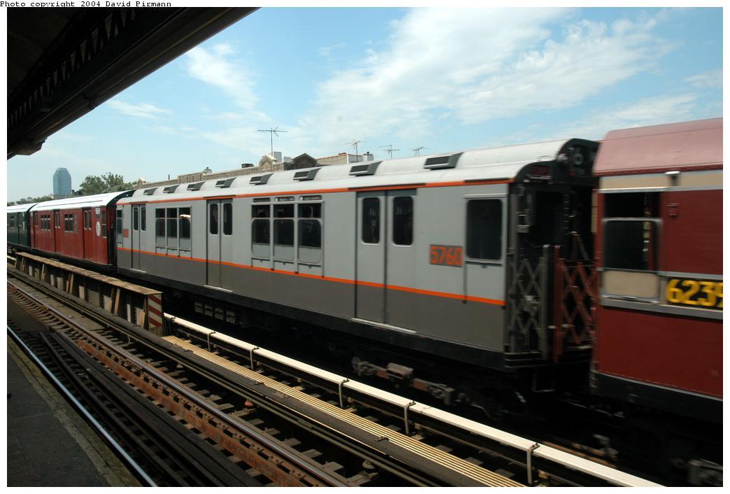 (142k, 1044x706)<br><b>Country:</b> United States<br><b>City:</b> New York<br><b>System:</b> New York City Transit<br><b>Line:</b> BMT Astoria Line<br><b>Location:</b> Broadway <br><b>Route:</b> Fan Trip<br><b>Car:</b> R-12 (American Car & Foundry, 1948) 5760 <br><b>Photo by:</b> David Pirmann<br><b>Date:</b> 6/19/2004<br><b>Viewed (this week/total):</b> 2 / 2555