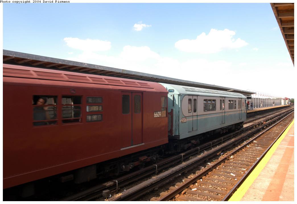 (131k, 1044x716)<br><b>Country:</b> United States<br><b>City:</b> New York<br><b>System:</b> New York City Transit<br><b>Line:</b> IND Rockaway<br><b>Location:</b> Beach 90th Street/Holland <br><b>Route:</b> Fan Trip<br><b>Car:</b> R-33 World's Fair (St. Louis, 1963-64) 9306 <br><b>Photo by:</b> David Pirmann<br><b>Date:</b> 6/19/2004<br><b>Viewed (this week/total):</b> 0 / 2240
