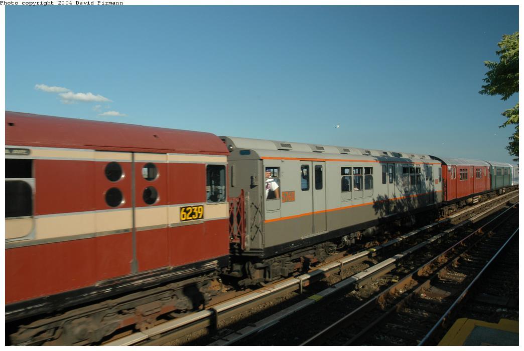 (124k, 1044x701)<br><b>Country:</b> United States<br><b>City:</b> New York<br><b>System:</b> New York City Transit<br><b>Line:</b> IND Rockaway<br><b>Location:</b> Broad Channel <br><b>Route:</b> Fan Trip<br><b>Car:</b> R-12 (American Car & Foundry, 1948) 5760 <br><b>Photo by:</b> David Pirmann<br><b>Date:</b> 6/19/2004<br><b>Viewed (this week/total):</b> 0 / 2755