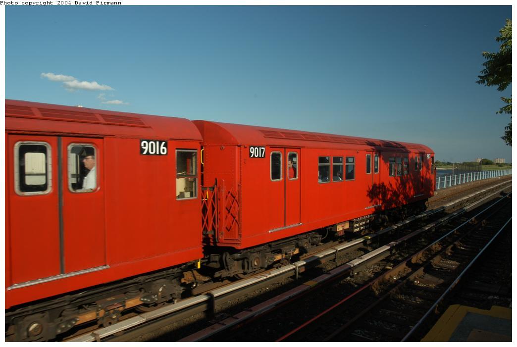 (122k, 1044x701)<br><b>Country:</b> United States<br><b>City:</b> New York<br><b>System:</b> New York City Transit<br><b>Line:</b> IND Rockaway<br><b>Location:</b> Broad Channel <br><b>Route:</b> Fan Trip<br><b>Car:</b> R-33 Main Line (St. Louis, 1962-63) 9017 <br><b>Photo by:</b> David Pirmann<br><b>Date:</b> 6/19/2004<br><b>Viewed (this week/total):</b> 0 / 2174