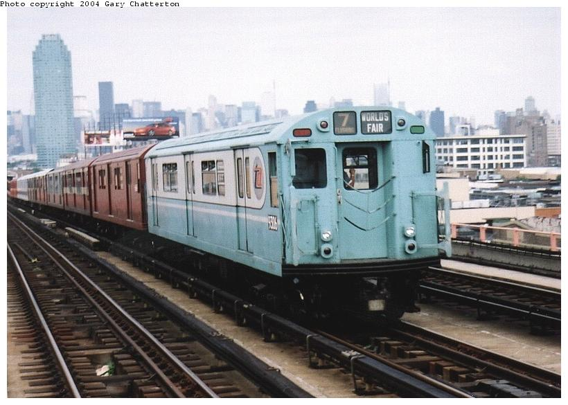 (76k, 820x585)<br><b>Country:</b> United States<br><b>City:</b> New York<br><b>System:</b> New York City Transit<br><b>Line:</b> IRT Flushing Line<br><b>Location:</b> 40th Street/Lowery Street <br><b>Route:</b> Fan Trip<br><b>Car:</b> R-33 World's Fair (St. Louis, 1963-64) 9306 <br><b>Photo by:</b> Gary Chatterton<br><b>Date:</b> 6/19/2004<br><b>Viewed (this week/total):</b> 0 / 2780