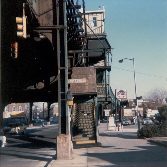 (128k, 683x680)<br><b>Country:</b> United States<br><b>City:</b> New York<br><b>System:</b> New York City Transit<br><b>Line:</b> BMT Nassau Street/Jamaica Line<br><b>Location:</b> Queens Boulevard (Demolished) <br><b>Photo by:</b> Thomas Lacker<br><b>Date:</b> 1/1984<br><b>Notes:</b> View from Jamaica Ave & Queens Blvd<br><b>Viewed (this week/total):</b> 4 / 8071