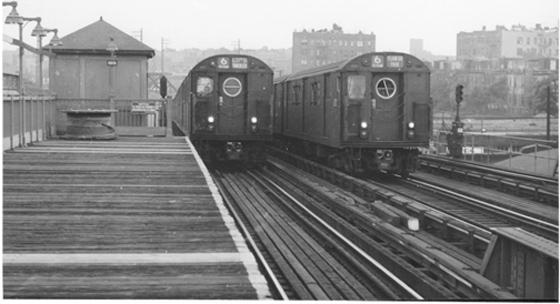 (103k, 560x304)<br><b>Country:</b> United States<br><b>City:</b> New York<br><b>System:</b> New York City Transit<br><b>Line:</b> IRT Pelham Line<br><b>Location:</b> Whitlock Avenue <br><b>Route:</b> 6<br><b>Car:</b> R-17 (St. Louis, 1955-56)  <br><b>Photo by:</b> Harry Pinsker<br><b>Date:</b> 7/30/1958<br><b>Viewed (this week/total):</b> 2 / 4993