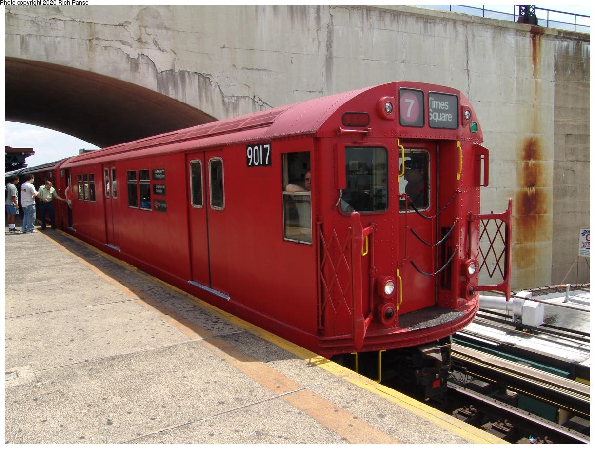 (104k, 820x620)<br><b>Country:</b> United States<br><b>City:</b> New York<br><b>System:</b> New York City Transit<br><b>Line:</b> BMT Astoria Line<br><b>Location:</b> Ditmars Boulevard <br><b>Route:</b> Fan Trip<br><b>Car:</b> R-33 Main Line (St. Louis, 1962-63) 9017 <br><b>Photo by:</b> Richard Panse<br><b>Date:</b> 6/19/2004<br><b>Viewed (this week/total):</b> 5 / 4563