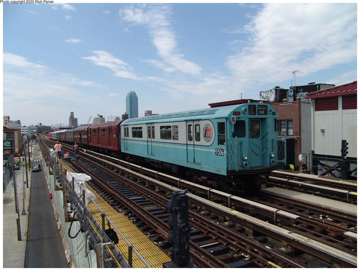 (102k, 820x620)<br><b>Country:</b> United States<br><b>City:</b> New York<br><b>System:</b> New York City Transit<br><b>Line:</b> BMT Astoria Line<br><b>Location:</b> 36th/Washington Aves. <br><b>Route:</b> Fan Trip<br><b>Car:</b> R-33 World's Fair (St. Louis, 1963-64) 9306 <br><b>Photo by:</b> Richard Panse<br><b>Date:</b> 6/19/2004<br><b>Viewed (this week/total):</b> 1 / 2676
