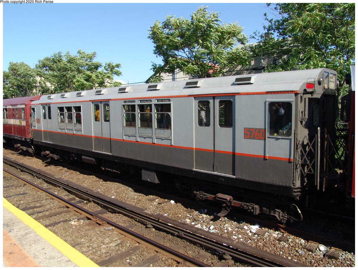 (131k, 820x620)<br><b>Country:</b> United States<br><b>City:</b> New York<br><b>System:</b> New York City Transit<br><b>Line:</b> IND Rockaway<br><b>Location:</b> Rockaway Park/Beach 116th Street <br><b>Route:</b> Fan Trip<br><b>Car:</b> R-12 (American Car & Foundry, 1948) 5760 <br><b>Photo by:</b> Richard Panse<br><b>Date:</b> 6/19/2004<br><b>Viewed (this week/total):</b> 0 / 2400