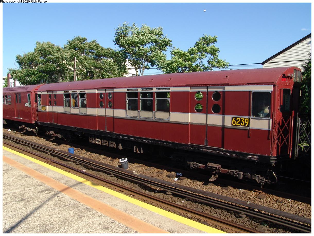 (118k, 820x620)<br><b>Country:</b> United States<br><b>City:</b> New York<br><b>System:</b> New York City Transit<br><b>Line:</b> IND Rockaway<br><b>Location:</b> Rockaway Park/Beach 116th Street <br><b>Route:</b> Fan Trip<br><b>Car:</b> R-15 (American Car & Foundry, 1950) 6239 <br><b>Photo by:</b> Richard Panse<br><b>Date:</b> 6/19/2004<br><b>Viewed (this week/total):</b> 2 / 2954