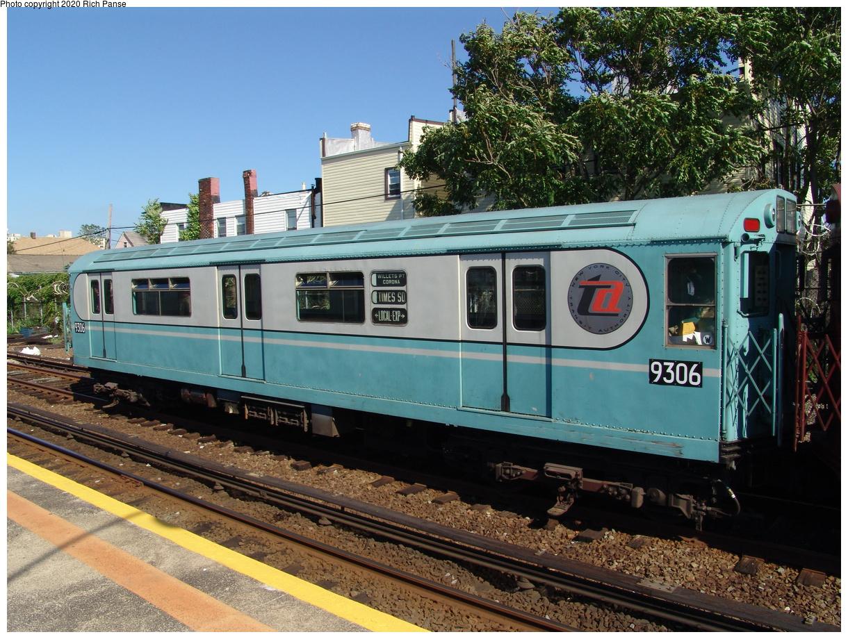 (121k, 820x620)<br><b>Country:</b> United States<br><b>City:</b> New York<br><b>System:</b> New York City Transit<br><b>Line:</b> IND Rockaway<br><b>Location:</b> Rockaway Park/Beach 116th Street <br><b>Route:</b> Fan Trip<br><b>Car:</b> R-33 World's Fair (St. Louis, 1963-64) 9306 <br><b>Photo by:</b> Richard Panse<br><b>Date:</b> 6/19/2004<br><b>Viewed (this week/total):</b> 4 / 3004