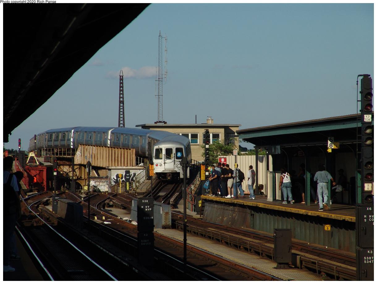 (79k, 820x620)<br><b>Country:</b> United States<br><b>City:</b> New York<br><b>System:</b> New York City Transit<br><b>Line:</b> IND Fulton Street Line<br><b>Location:</b> Rockaway Boulevard <br><b>Route:</b> A<br><b>Car:</b> R-44 (St. Louis, 1971-73) 5232 <br><b>Photo by:</b> Richard Panse<br><b>Date:</b> 6/19/2004<br><b>Viewed (this week/total):</b> 1 / 5369