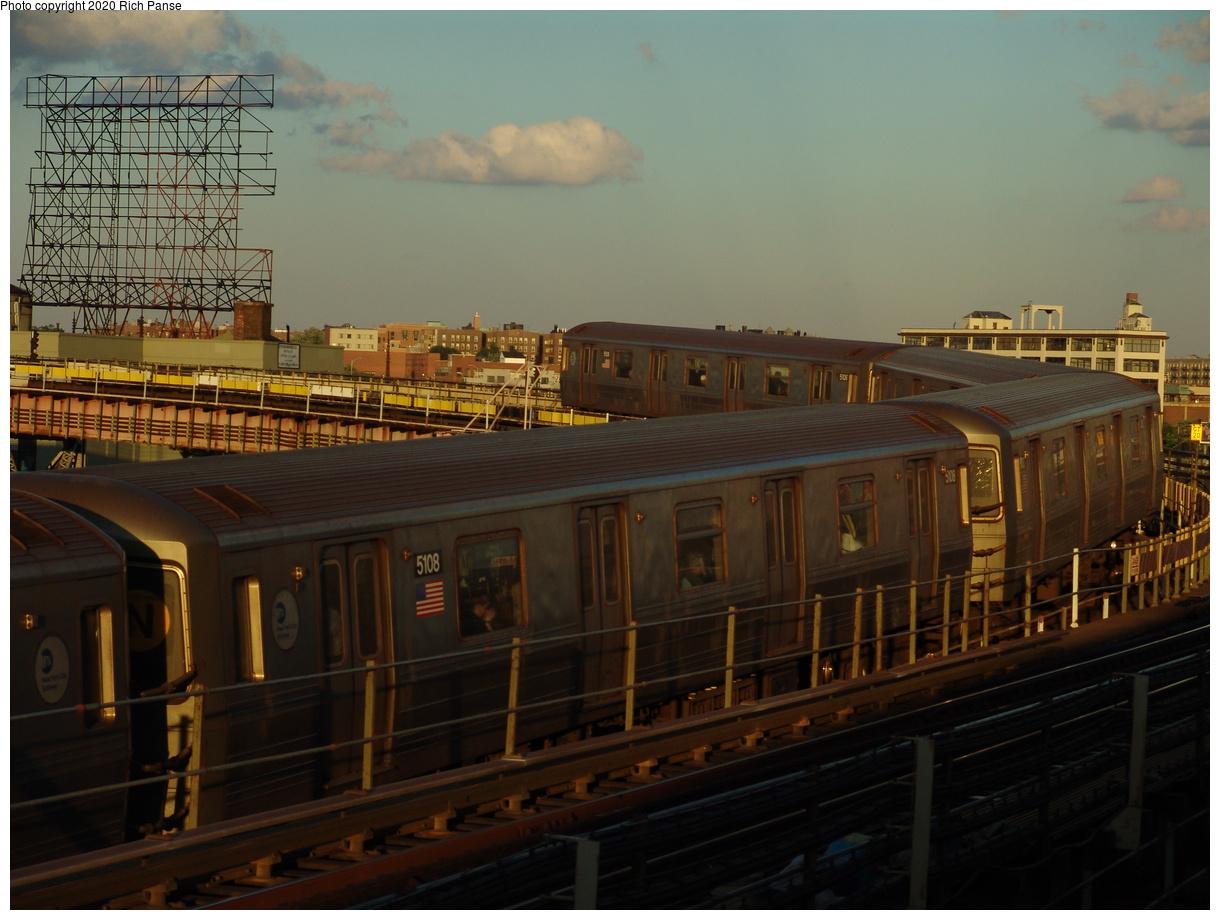 (79k, 820x620)<br><b>Country:</b> United States<br><b>City:</b> New York<br><b>System:</b> New York City Transit<br><b>Line:</b> BMT Astoria Line<br><b>Location:</b> Queensborough Plaza <br><b>Route:</b> N<br><b>Car:</b> R-68A (Kawasaki, 1988-1989)  5108 <br><b>Photo by:</b> Richard Panse<br><b>Date:</b> 6/19/2004<br><b>Viewed (this week/total):</b> 1 / 4617