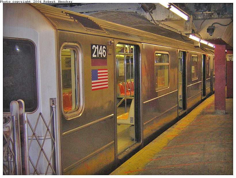 (199k, 820x620)<br><b>Country:</b> United States<br><b>City:</b> New York<br><b>System:</b> New York City Transit<br><b>Line:</b> IRT Flushing Line<br><b>Location:</b> Times Square <br><b>Route:</b> 7<br><b>Car:</b> R-62A (Bombardier, 1984-1987)  2146 <br><b>Photo by:</b> Robert Mencher<br><b>Date:</b> 6/26/2004<br><b>Viewed (this week/total):</b> 1 / 3530