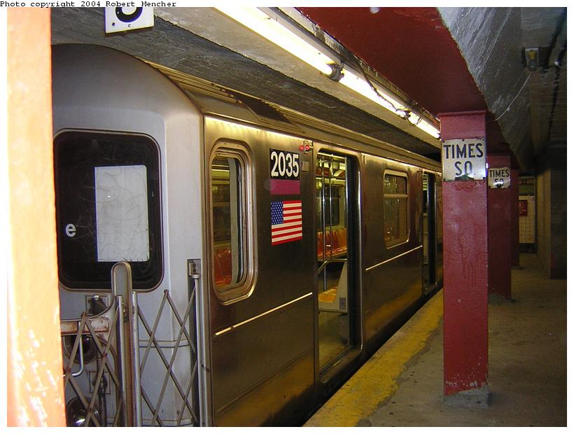 (113k, 820x620)<br><b>Country:</b> United States<br><b>City:</b> New York<br><b>System:</b> New York City Transit<br><b>Line:</b> IRT Flushing Line<br><b>Location:</b> Times Square <br><b>Route:</b> 7<br><b>Car:</b> R-62A (Bombardier, 1984-1987)  2035 <br><b>Photo by:</b> Robert Mencher<br><b>Date:</b> 6/26/2004<br><b>Viewed (this week/total):</b> 0 / 3822