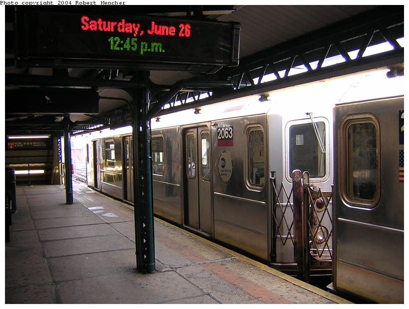 (114k, 820x620)<br><b>Country:</b> United States<br><b>City:</b> New York<br><b>System:</b> New York City Transit<br><b>Line:</b> IRT Flushing Line<br><b>Location:</b> Court House Square/45th Road <br><b>Route:</b> 7<br><b>Car:</b> R-62A (Bombardier, 1984-1987)  2063 <br><b>Photo by:</b> Robert Mencher<br><b>Date:</b> 6/26/2004<br><b>Viewed (this week/total):</b> 0 / 5201
