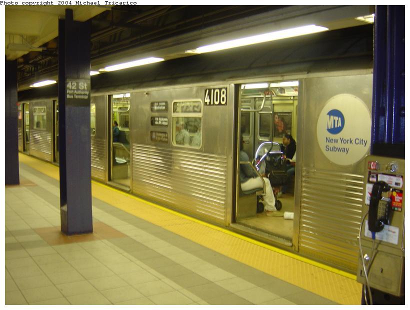(73k, 820x620)<br><b>Country:</b> United States<br><b>City:</b> New York<br><b>System:</b> New York City Transit<br><b>Line:</b> IND 8th Avenue Line<br><b>Location:</b> 42nd Street/Port Authority Bus Terminal <br><b>Route:</b> A<br><b>Car:</b> R-38 (St. Louis, 1966-1967)  4108 <br><b>Photo by:</b> Michael Tricarico<br><b>Date:</b> 6/2/2004<br><b>Viewed (this week/total):</b> 0 / 8685