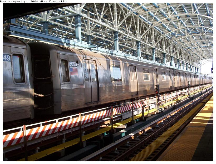 (130k, 820x624)<br><b>Country:</b> United States<br><b>City:</b> New York<br><b>System:</b> New York City Transit<br><b>Location:</b> Coney Island/Stillwell Avenue<br><b>Route:</b> Q<br><b>Car:</b> R-68A (Kawasaki, 1988-1989)  5050 <br><b>Photo by:</b> Mike Fioriello<br><b>Date:</b> 6/3/2004<br><b>Viewed (this week/total):</b> 1 / 2972