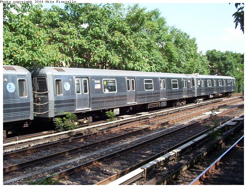 (156k, 820x624)<br><b>Country:</b> United States<br><b>City:</b> New York<br><b>System:</b> New York City Transit<br><b>Line:</b> BMT Brighton Line<br><b>Location:</b> Avenue J <br><b>Route:</b> Q<br><b>Car:</b> R-68A (Kawasaki, 1988-1989)  5045 <br><b>Photo by:</b> Mike Fioriello<br><b>Date:</b> 6/21/2004<br><b>Viewed (this week/total):</b> 1 / 4898