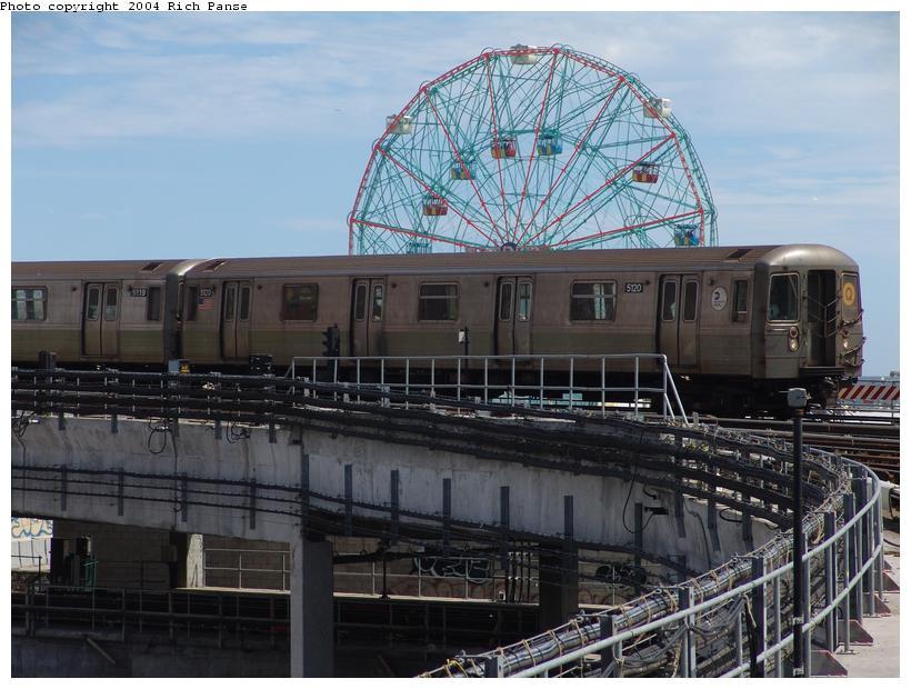 (101k, 820x620)<br><b>Country:</b> United States<br><b>City:</b> New York<br><b>System:</b> New York City Transit<br><b>Location:</b> Coney Island/Stillwell Avenue<br><b>Route:</b> Q<br><b>Car:</b> R-68A (Kawasaki, 1988-1989)  5120 <br><b>Photo by:</b> Richard Panse<br><b>Date:</b> 6/13/2004<br><b>Viewed (this week/total):</b> 1 / 4850