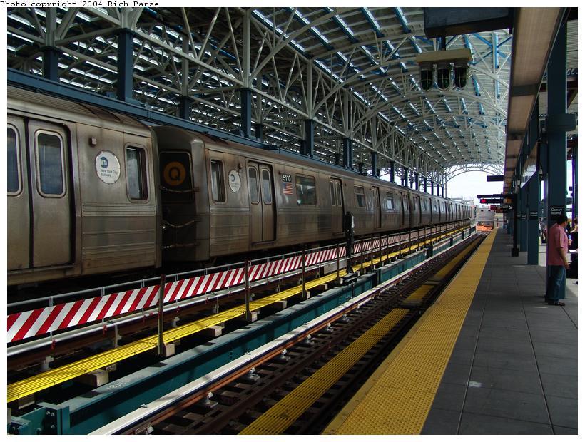 (136k, 820x620)<br><b>Country:</b> United States<br><b>City:</b> New York<br><b>System:</b> New York City Transit<br><b>Location:</b> Coney Island/Stillwell Avenue<br><b>Route:</b> Q<br><b>Car:</b> R-68A (Kawasaki, 1988-1989)  5110 <br><b>Photo by:</b> Richard Panse<br><b>Date:</b> 6/13/2004<br><b>Viewed (this week/total):</b> 1 / 3593