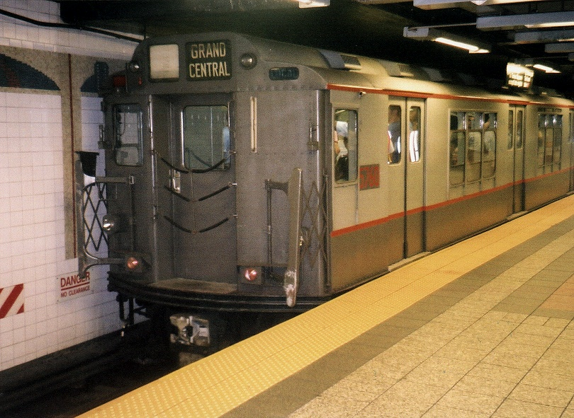 (256k, 810x591)<br><b>Country:</b> United States<br><b>City:</b> New York<br><b>System:</b> New York City Transit<br><b>Line:</b> IRT Times Square-Grand Central Shuttle<br><b>Location:</b> Grand Central <br><b>Route:</b> Fan Trip<br><b>Car:</b> R-12 (American Car & Foundry, 1948) 5760 <br><b>Photo by:</b> Gary Chatterton<br><b>Date:</b> 7/7/2004<br><b>Notes:</b> IRT 'SMEE' museum train in operation on the Times Square-Grand Central Shuttle, an impromptu centennial event.<br><b>Viewed (this week/total):</b> 0 / 3387