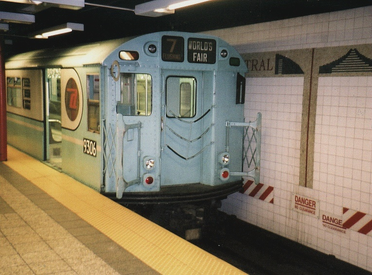 (215k, 765x566)<br><b>Country:</b> United States<br><b>City:</b> New York<br><b>System:</b> New York City Transit<br><b>Line:</b> IRT Times Square-Grand Central Shuttle<br><b>Location:</b> Grand Central <br><b>Route:</b> Fan Trip<br><b>Car:</b> R-33 World's Fair (St. Louis, 1963-64) 9306 <br><b>Photo by:</b> Gary Chatterton<br><b>Date:</b> 7/7/2004<br><b>Notes:</b> IRT 'SMEE' museum train in operation on the Times Square-Grand Central Shuttle, an impromptu centennial event.<br><b>Viewed (this week/total):</b> 2 / 3377