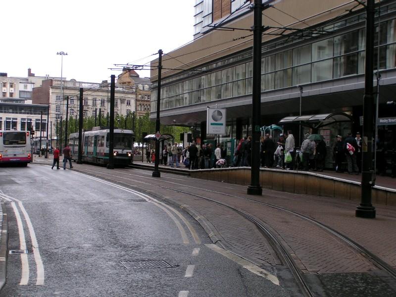 (151k, 800x600)<br><b>Country:</b> United Kingdom<br><b>City:</b> Manchester<br><b>System:</b> Metrolink <br><b>Line:</b> City Center-Shared Stations<br><b>Location:</b> Mosley Street <br><b>Photo by:</b> Tim Deakin<br><b>Date:</b> 7/10/2004<br><b>Notes:</b> Note southbound-only platform arrangement<br><b>Viewed (this week/total):</b> 2 / 2003