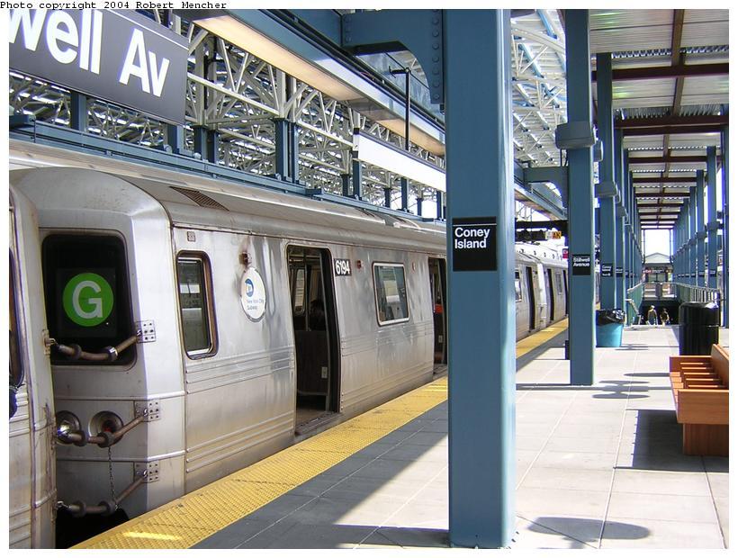 (134k, 820x620)<br><b>Country:</b> United States<br><b>City:</b> New York<br><b>System:</b> New York City Transit<br><b>Location:</b> Coney Island/Stillwell Avenue<br><b>Route:</b> G<br><b>Car:</b> R-46 (Pullman-Standard, 1974-75) 6194 <br><b>Photo by:</b> Robert Mencher<br><b>Date:</b> 7/10/2004<br><b>Viewed (this week/total):</b> 0 / 4683