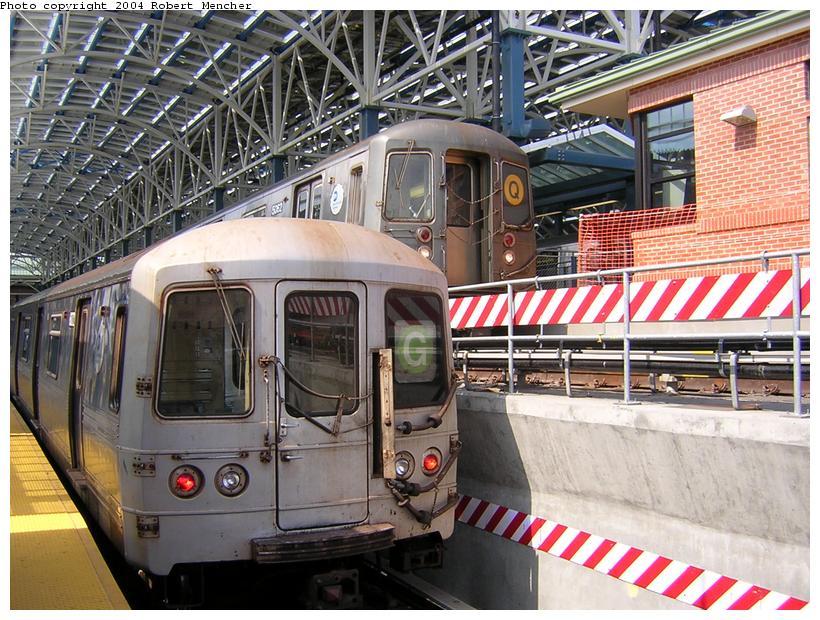 (151k, 820x620)<br><b>Country:</b> United States<br><b>City:</b> New York<br><b>System:</b> New York City Transit<br><b>Location:</b> Coney Island/Stillwell Avenue<br><b>Route:</b> Q<br><b>Car:</b> R-68A (Kawasaki, 1988-1989)  5062 <br><b>Photo by:</b> Robert Mencher<br><b>Date:</b> 7/10/2004<br><b>Notes:</b> With R46 on G<br><b>Viewed (this week/total):</b> 3 / 5005