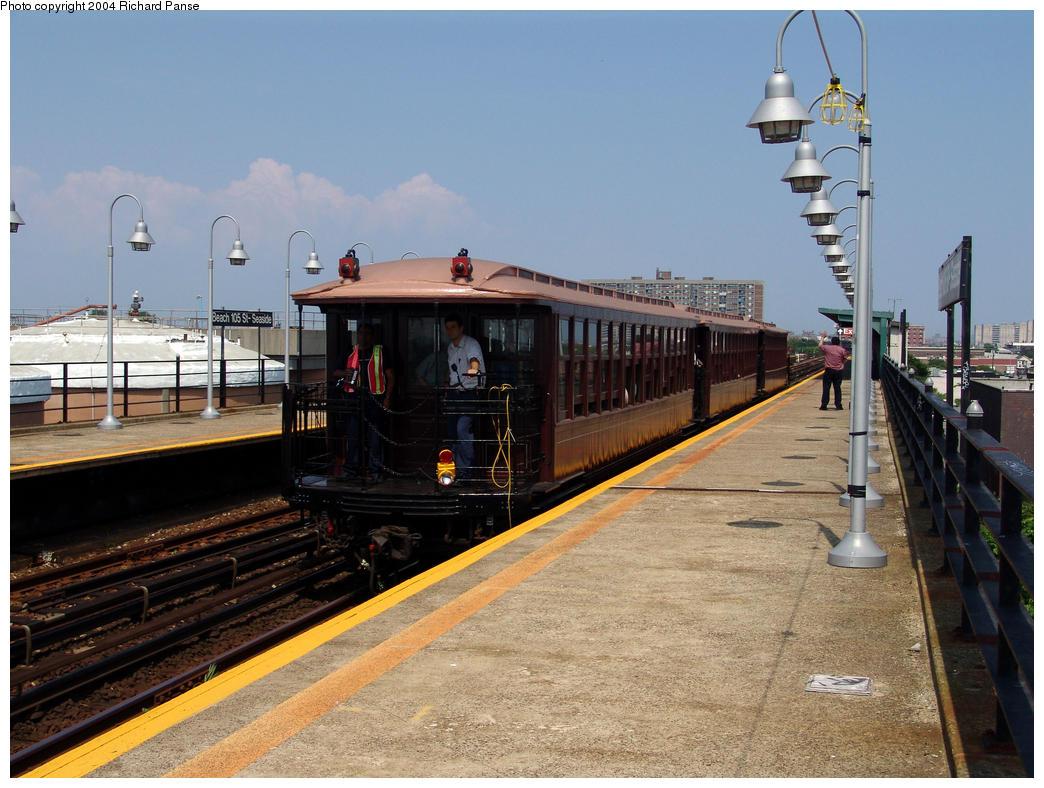 (165k, 1044x788)<br><b>Country:</b> United States<br><b>City:</b> New York<br><b>System:</b> New York City Transit<br><b>Line:</b> IND Rockaway<br><b>Location:</b> Beach 105th Street/Seaside <br><b>Route:</b> Fan Trip<br><b>Car:</b> BMT Elevated Gate Car 1407, 1273, 1404 <br><b>Photo by:</b> Richard Panse<br><b>Date:</b> 7/17/2004<br><b>Viewed (this week/total):</b> 0 / 2488