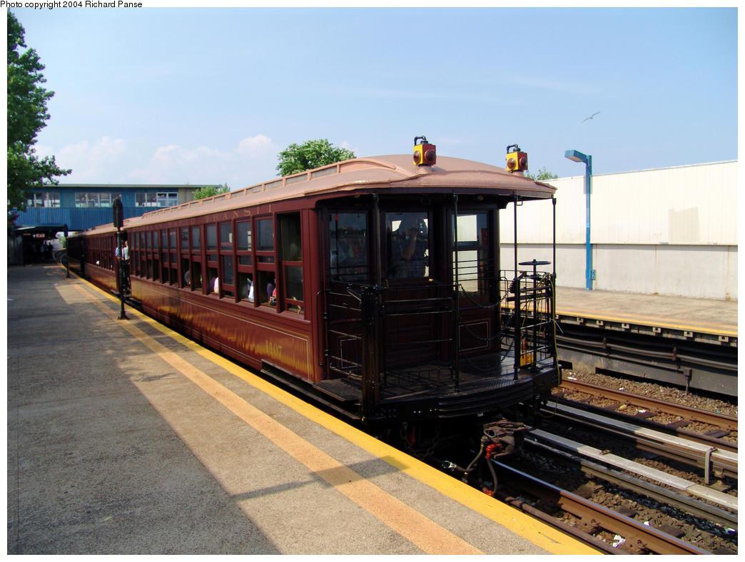 (160k, 1044x788)<br><b>Country:</b> United States<br><b>City:</b> New York<br><b>System:</b> New York City Transit<br><b>Line:</b> IND Rockaway<br><b>Location:</b> Broad Channel <br><b>Route:</b> Fan Trip<br><b>Car:</b> BMT Elevated Gate Car 1407, 1273, 1404 <br><b>Photo by:</b> Richard Panse<br><b>Date:</b> 7/17/2004<br><b>Viewed (this week/total):</b> 0 / 2634