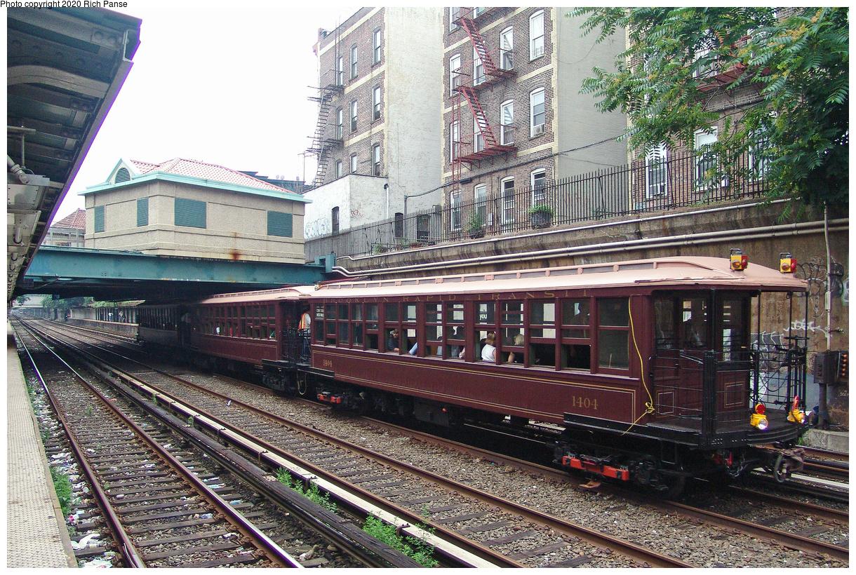 (252k, 1044x788)<br><b>Country:</b> United States<br><b>City:</b> New York<br><b>System:</b> New York City Transit<br><b>Line:</b> BMT Brighton Line<br><b>Location:</b> Cortelyou Road <br><b>Route:</b> Fan Trip<br><b>Car:</b> BMT Elevated Gate Car 1404-1273-1407 <br><b>Photo by:</b> Richard Panse<br><b>Date:</b> 7/18/2004<br><b>Viewed (this week/total):</b> 0 / 3216