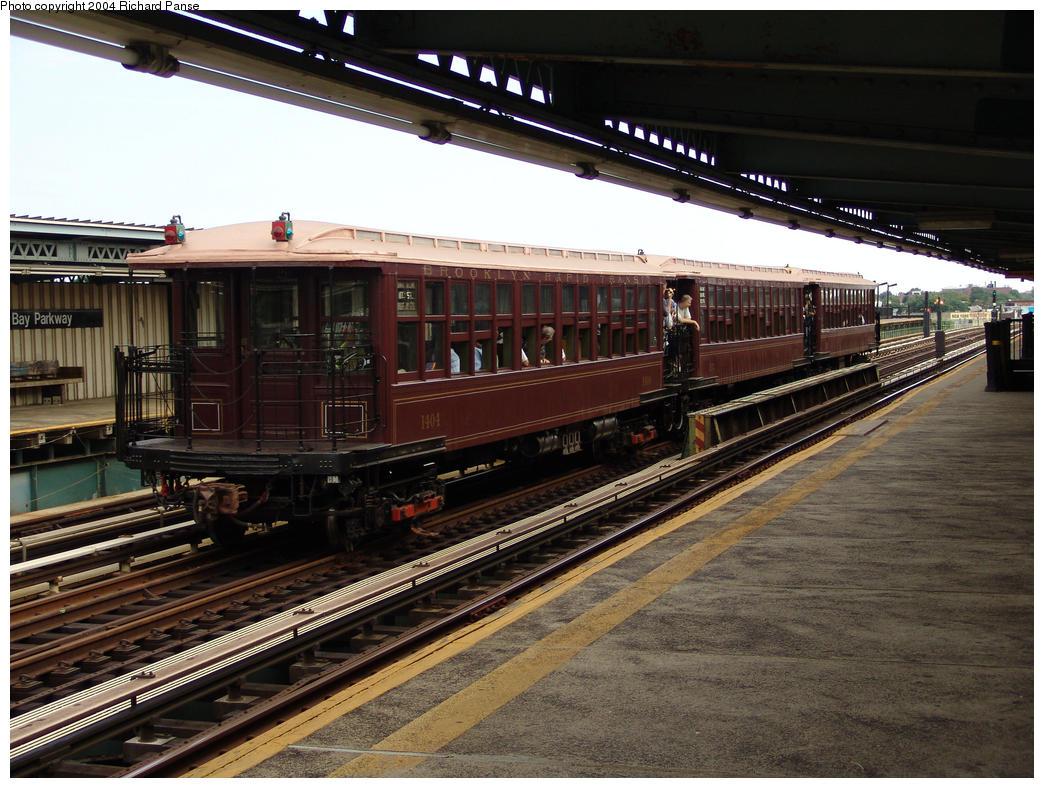 (187k, 1044x788)<br><b>Country:</b> United States<br><b>City:</b> New York<br><b>System:</b> New York City Transit<br><b>Line:</b> BMT Culver Line<br><b>Location:</b> Bay Parkway (22nd Avenue) <br><b>Route:</b> Fan Trip<br><b>Car:</b> BMT Elevated Gate Car 1404-1273-1407 <br><b>Photo by:</b> Richard Panse<br><b>Date:</b> 7/25/2004<br><b>Viewed (this week/total):</b> 0 / 2362