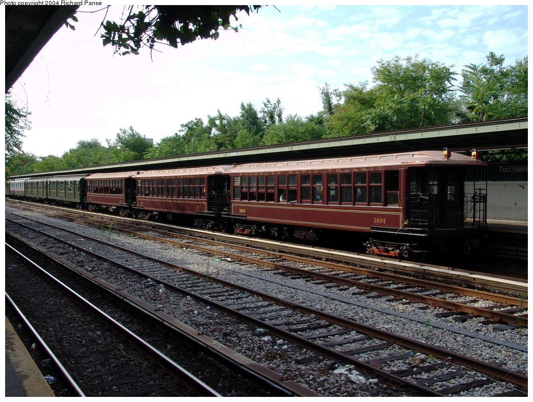 (227k, 1044x788)<br><b>Country:</b> United States<br><b>City:</b> New York<br><b>System:</b> New York City Transit<br><b>Line:</b> BMT Sea Beach Line<br><b>Location:</b> Fort Hamilton Parkway <br><b>Route:</b> Fan Trip<br><b>Car:</b> BMT Elevated Gate Car 1404-1273-1407 <br><b>Photo by:</b> Richard Panse<br><b>Date:</b> 7/25/2004<br><b>Viewed (this week/total):</b> 0 / 2692