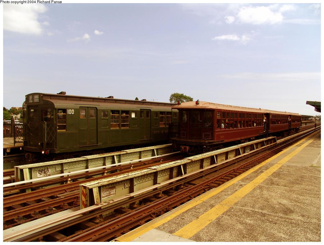 (177k, 1044x788)<br><b>Country:</b> United States<br><b>City:</b> New York<br><b>System:</b> New York City Transit<br><b>Line:</b> BMT Culver Line<br><b>Location:</b> Avenue I <br><b>Route:</b> Fan Trip<br><b>Car:</b> R-1 (American Car & Foundry, 1930-1931) 100 <br><b>Photo by:</b> Richard Panse<br><b>Date:</b> 7/25/2004<br><b>Viewed (this week/total):</b> 3 / 3472