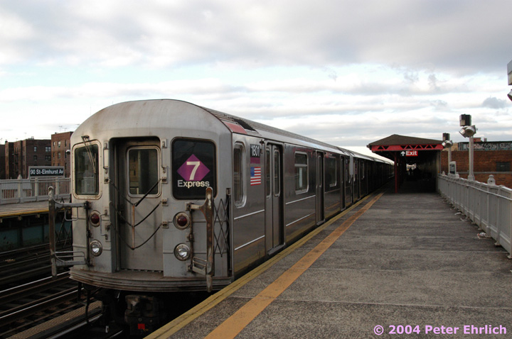 (123k, 720x478)<br><b>Country:</b> United States<br><b>City:</b> New York<br><b>System:</b> New York City Transit<br><b>Line:</b> IRT Flushing Line<br><b>Location:</b> 90th Street/Elmhurst Avenue <br><b>Route:</b> 7<br><b>Car:</b> R-62A (Bombardier, 1984-1987)  1801 <br><b>Photo by:</b> Peter Ehrlich<br><b>Date:</b> 12/25/2003<br><b>Viewed (this week/total):</b> 4 / 5315