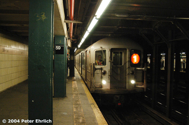 (129k, 720x478)<br><b>Country:</b> United States<br><b>City:</b> New York<br><b>System:</b> New York City Transit<br><b>Line:</b> IRT West Side Line<br><b>Location:</b> 59th Street/Columbus Circle <br><b>Route:</b> 1<br><b>Car:</b> R-62A (Bombardier, 1984-1987)  2175 <br><b>Photo by:</b> Peter Ehrlich<br><b>Date:</b> 12/28/2003<br><b>Viewed (this week/total):</b> 2 / 6282