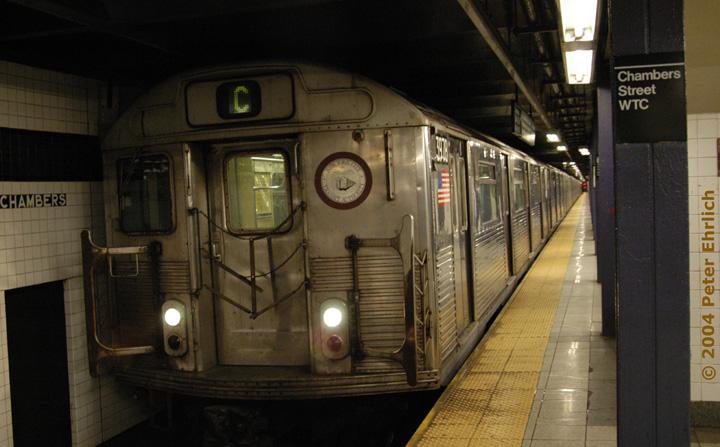 (126k, 720x447)<br><b>Country:</b> United States<br><b>City:</b> New York<br><b>System:</b> New York City Transit<br><b>Line:</b> IND 8th Avenue Line<br><b>Location:</b> Chambers Street/World Trade Center <br><b>Route:</b> C<br><b>Car:</b> R-38 (St. Louis, 1966-1967)  3978 <br><b>Photo by:</b> Peter Ehrlich<br><b>Date:</b> 12/25/2003<br><b>Viewed (this week/total):</b> 3 / 4639