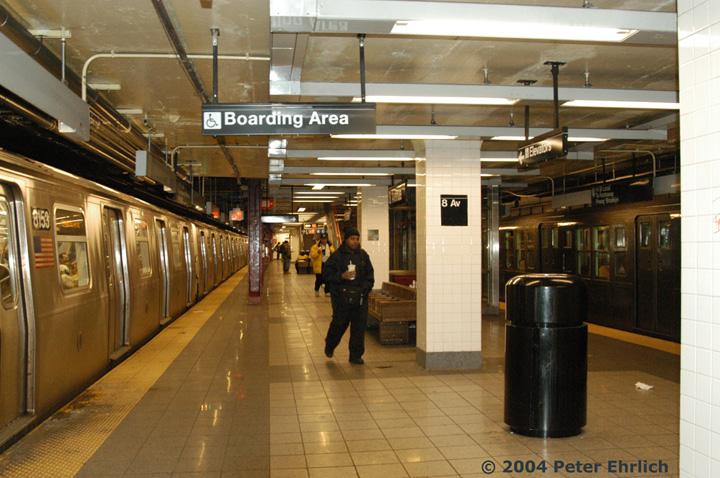 (161k, 720x478)<br><b>Country:</b> United States<br><b>City:</b> New York<br><b>System:</b> New York City Transit<br><b>Line:</b> BMT Canarsie Line<br><b>Location:</b> 8th Avenue <br><b>Route:</b> L<br><b>Car:</b> R-143 (Kawasaki, 2001-2002) 8153 <br><b>Photo by:</b> Peter Ehrlich<br><b>Date:</b> 12/28/2003<br><b>Notes:</b> With R4 484 on fantrip<br><b>Viewed (this week/total):</b> 1 / 5018