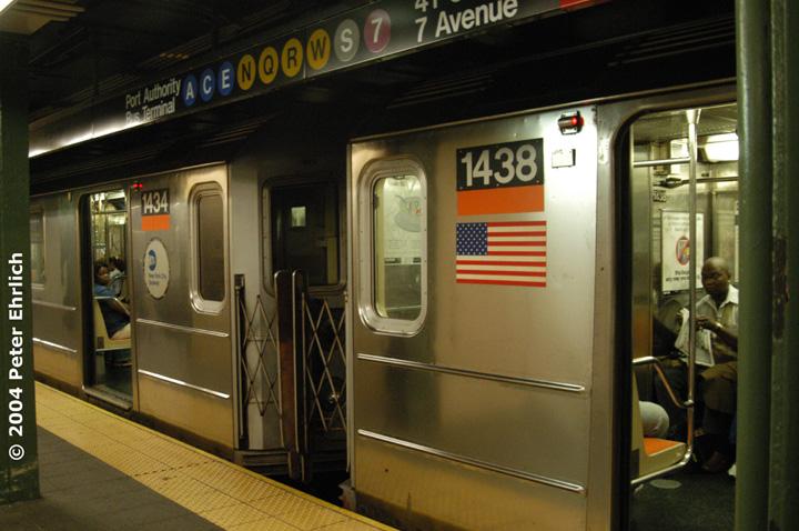 (143k, 720x478)<br><b>Country:</b> United States<br><b>City:</b> New York<br><b>System:</b> New York City Transit<br><b>Line:</b> IRT West Side Line<br><b>Location:</b> Times Square/42nd Street <br><b>Route:</b> 3<br><b>Car:</b> R-62 (Kawasaki, 1983-1985)  1434/1438 <br><b>Photo by:</b> Peter Ehrlich<br><b>Date:</b> 7/17/2004<br><b>Notes:</b> These are the survivors of the Union Sq. wreck.<br><b>Viewed (this week/total):</b> 0 / 7138