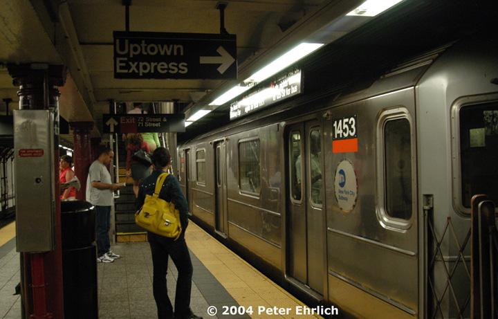 (139k, 720x461)<br><b>Country:</b> United States<br><b>City:</b> New York<br><b>System:</b> New York City Transit<br><b>Line:</b> IRT West Side Line<br><b>Location:</b> 72nd Street <br><b>Route:</b> 3<br><b>Car:</b> R-62 (Kawasaki, 1983-1985)  1453 <br><b>Photo by:</b> Peter Ehrlich<br><b>Date:</b> 7/15/2004<br><b>Viewed (this week/total):</b> 3 / 5480