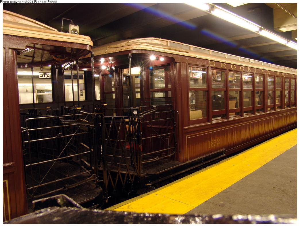 (184k, 1044x788)<br><b>Country:</b> United States<br><b>City:</b> New York<br><b>System:</b> New York City Transit<br><b>Line:</b> IND Fulton Street Line<br><b>Location:</b> Euclid Avenue <br><b>Route:</b> Fan Trip<br><b>Car:</b> BMT Elevated Gate Car 1273 <br><b>Photo by:</b> Richard Panse<br><b>Date:</b> 7/17/2004<br><b>Viewed (this week/total):</b> 0 / 3853