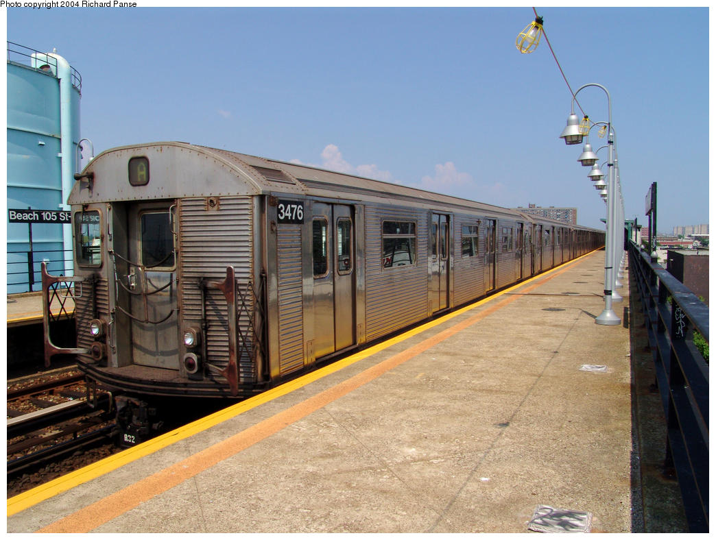 (170k, 1044x788)<br><b>Country:</b> United States<br><b>City:</b> New York<br><b>System:</b> New York City Transit<br><b>Line:</b> IND Rockaway<br><b>Location:</b> Beach 105th Street/Seaside <br><b>Route:</b> A<br><b>Car:</b> R-32 (Budd, 1964)  3476 <br><b>Photo by:</b> Richard Panse<br><b>Date:</b> 7/17/2004<br><b>Viewed (this week/total):</b> 0 / 4227