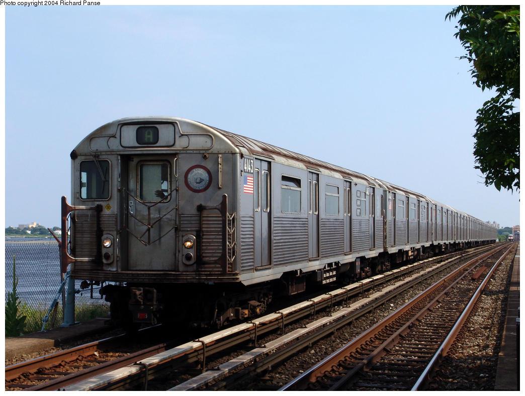 (166k, 1044x788)<br><b>Country:</b> United States<br><b>City:</b> New York<br><b>System:</b> New York City Transit<br><b>Line:</b> IND Rockaway<br><b>Location:</b> Broad Channel <br><b>Route:</b> A<br><b>Car:</b> R-38 (St. Louis, 1966-1967)  4143 <br><b>Photo by:</b> Richard Panse<br><b>Date:</b> 7/17/2004<br><b>Viewed (this week/total):</b> 0 / 4021