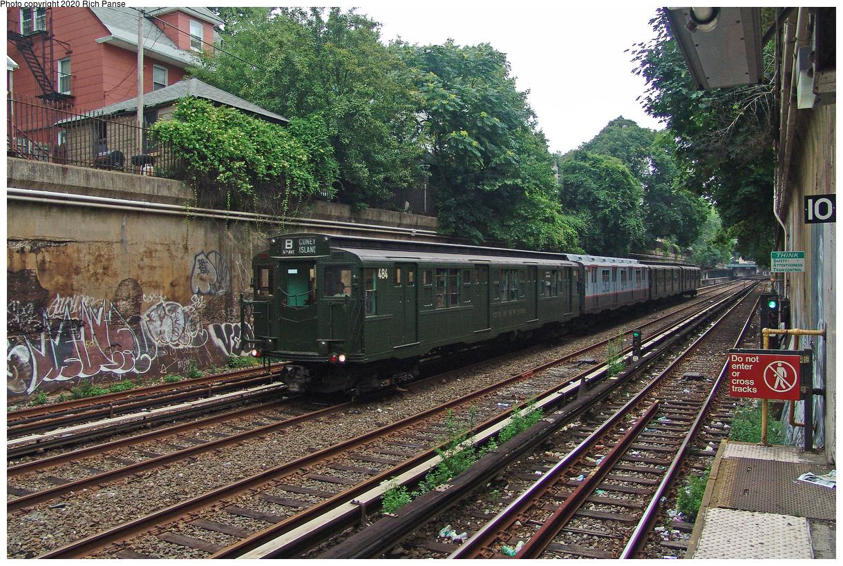 (269k, 1044x788)<br><b>Country:</b> United States<br><b>City:</b> New York<br><b>System:</b> New York City Transit<br><b>Line:</b> BMT Brighton Line<br><b>Location:</b> Cortelyou Road <br><b>Route:</b> Fan Trip<br><b>Car:</b> R-4 (American Car & Foundry, 1932-1933) 484 <br><b>Photo by:</b> Richard Panse<br><b>Date:</b> 7/18/2004<br><b>Viewed (this week/total):</b> 2 / 2995