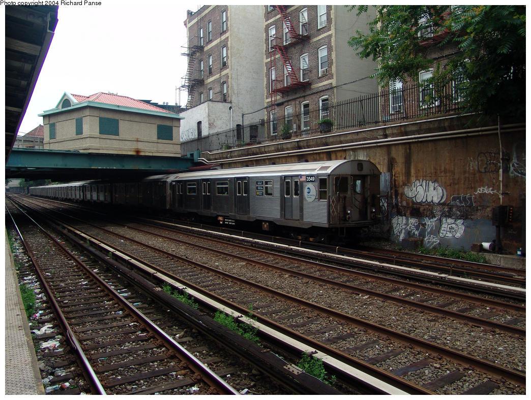 (234k, 1044x788)<br><b>Country:</b> United States<br><b>City:</b> New York<br><b>System:</b> New York City Transit<br><b>Line:</b> BMT Brighton Line<br><b>Location:</b> Cortelyou Road <br><b>Route:</b> Q<br><b>Car:</b> R-32 (Budd, 1964)  3549 <br><b>Photo by:</b> Richard Panse<br><b>Date:</b> 7/18/2004<br><b>Viewed (this week/total):</b> 1 / 4258